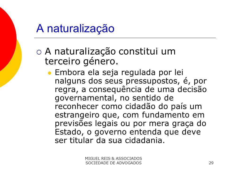 MIGUEL REIS & ASSOCIADOS SOCIEDADE DE ADVOGADOS29 A naturalização A naturalização constitui um terceiro género.