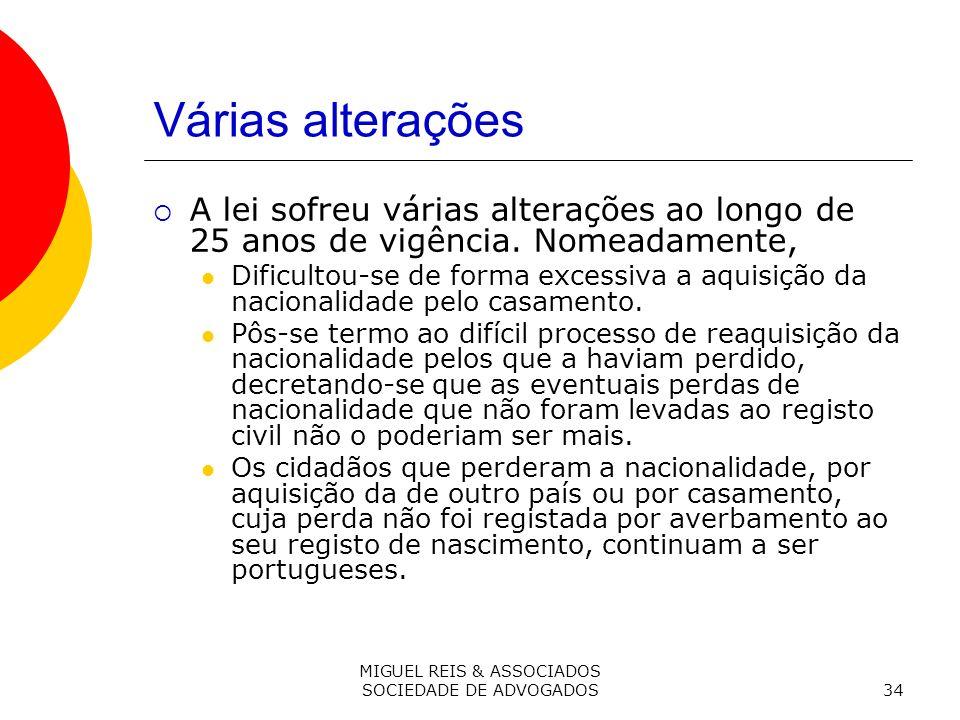 MIGUEL REIS & ASSOCIADOS SOCIEDADE DE ADVOGADOS34 Várias alterações A lei sofreu várias alterações ao longo de 25 anos de vigência.