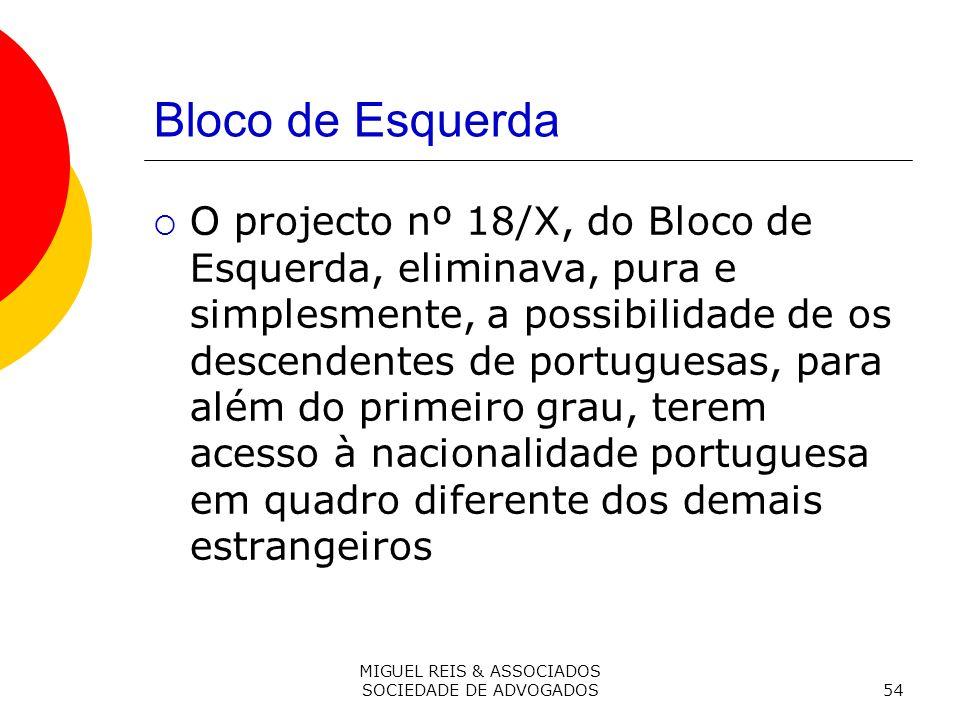 MIGUEL REIS & ASSOCIADOS SOCIEDADE DE ADVOGADOS54 Bloco de Esquerda O projecto nº 18/X, do Bloco de Esquerda, eliminava, pura e simplesmente, a possibilidade de os descendentes de portuguesas, para além do primeiro grau, terem acesso à nacionalidade portuguesa em quadro diferente dos demais estrangeiros