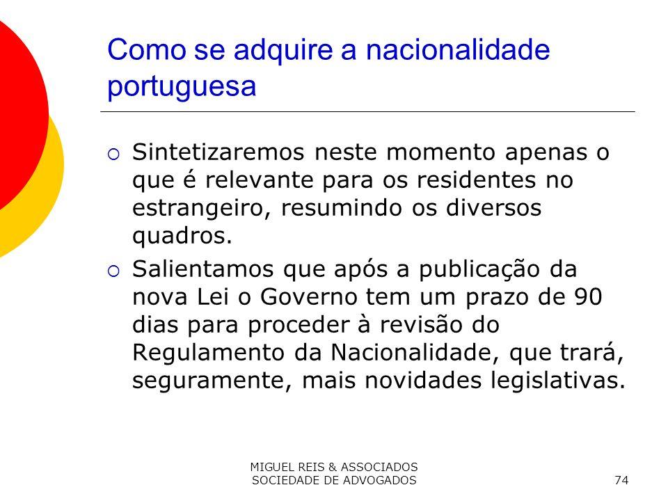 MIGUEL REIS & ASSOCIADOS SOCIEDADE DE ADVOGADOS74 Como se adquire a nacionalidade portuguesa Sintetizaremos neste momento apenas o que é relevante para os residentes no estrangeiro, resumindo os diversos quadros.