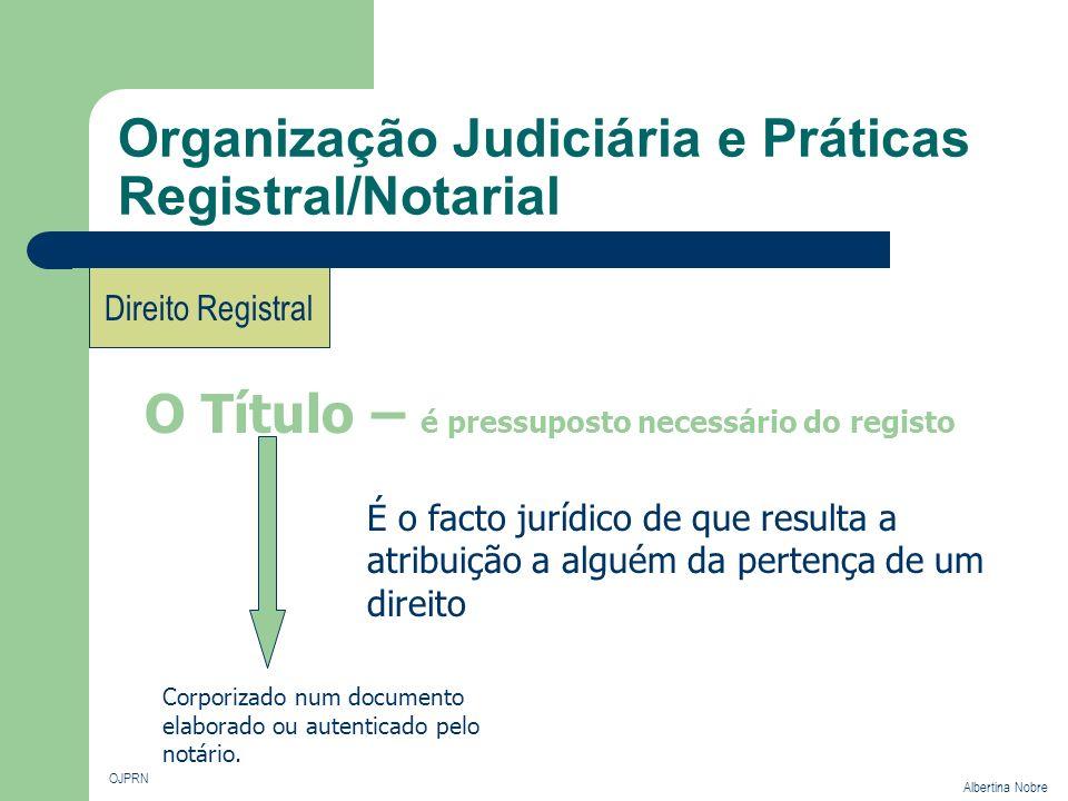 Organização Judiciária e Práticas Registral/Notarial OJPRN Albertina Nobre Direito Registral É o facto jurídico de que resulta a atribuição a alguém d