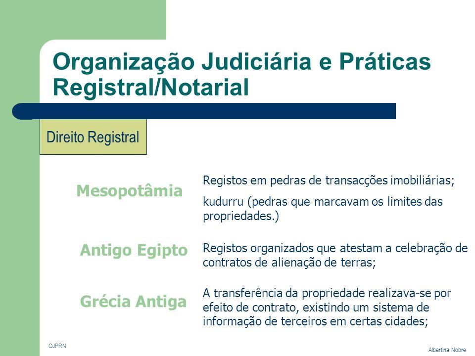 Organização Judiciária e Práticas Registral/Notarial OJPRN Albertina Nobre Direito Registral Mesopotâmia Registos em pedras de transacções imobiliária