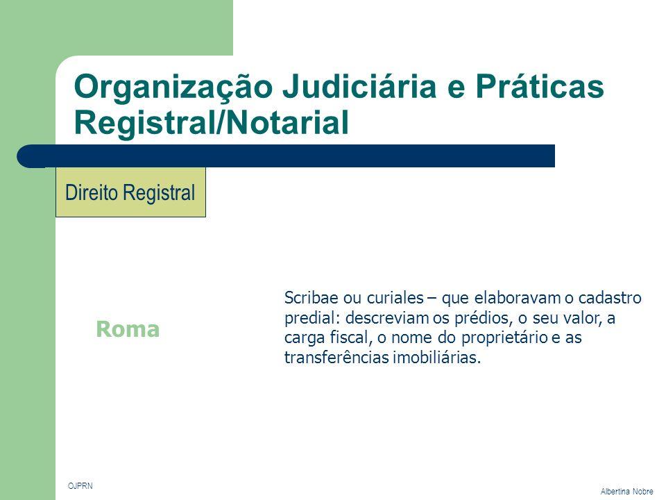 Organização Judiciária e Práticas Registral/Notarial OJPRN Albertina Nobre Direito Registral Roma Scribae ou curiales – que elaboravam o cadastro pred