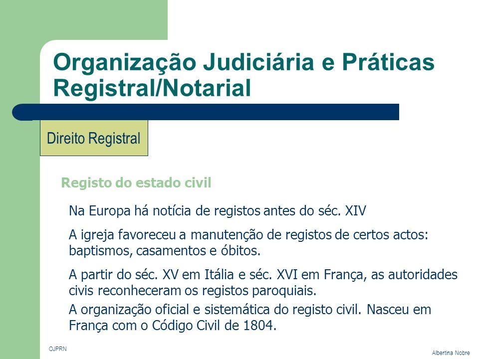 Organização Judiciária e Práticas Registral/Notarial OJPRN Albertina Nobre Direito Registral Registo do estado civil Na Europa há notícia de registos