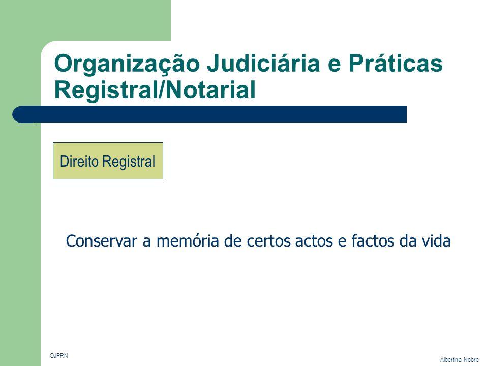 Organização Judiciária e Práticas Registral/Notarial OJPRN Albertina Nobre Direito Registral Conservar a memória de certos actos e factos da vida