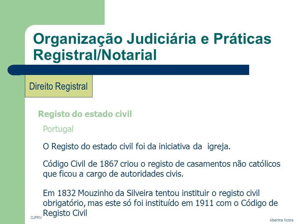 Organização Judiciária e Práticas Registral/Notarial OJPRN Albertina Nobre Direito Registral Registo do estado civil Portugal O Registo do estado civi