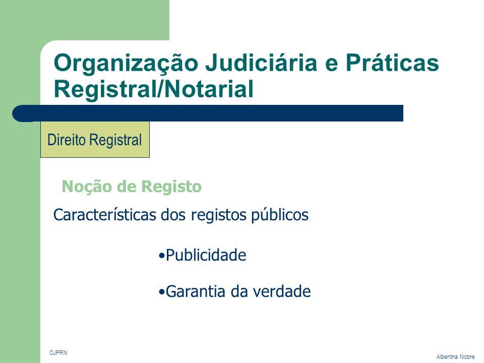 Organização Judiciária e Práticas Registral/Notarial OJPRN Albertina Nobre Direito Registral Noção de Registo Características dos registos públicos Pu