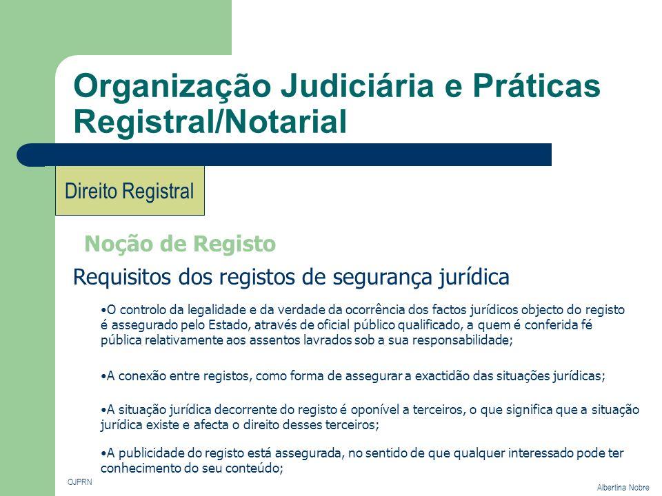 Organização Judiciária e Práticas Registral/Notarial OJPRN Albertina Nobre Direito Registral Noção de Registo Requisitos dos registos de segurança jur