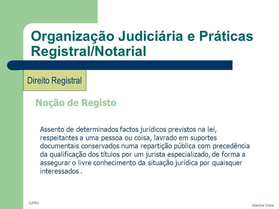 Organização Judiciária e Práticas Registral/Notarial OJPRN Albertina Nobre Direito Registral Noção de Registo Assento de determinados factos jurídicos
