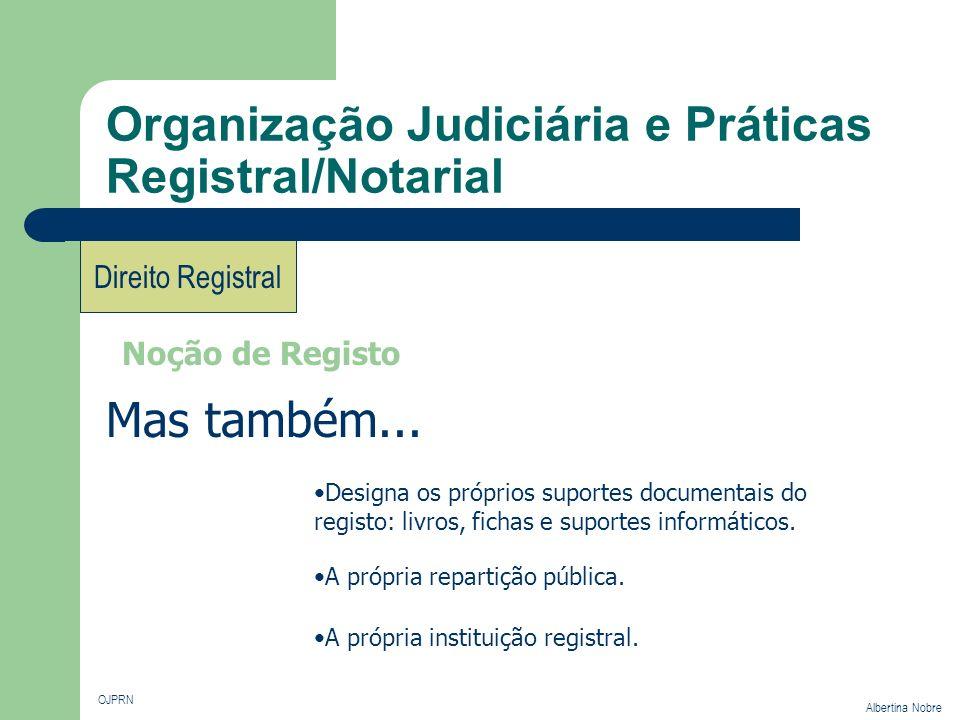 Organização Judiciária e Práticas Registral/Notarial OJPRN Albertina Nobre Direito Registral Noção de Registo Designa os próprios suportes documentais