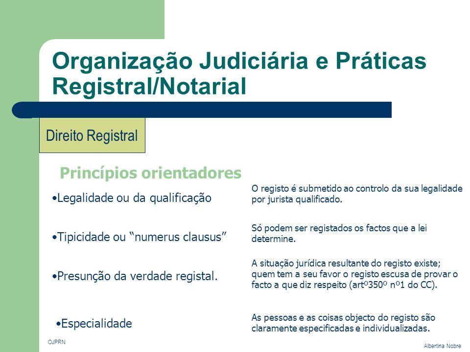 Organização Judiciária e Práticas Registral/Notarial OJPRN Albertina Nobre Direito Registral Princípios orientadores Legalidade ou da qualificação Tip