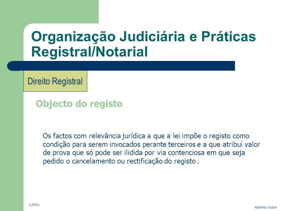 Organização Judiciária e Práticas Registral/Notarial OJPRN Albertina Nobre Direito Registral Objecto do registo Os factos com relevância jurídica a qu