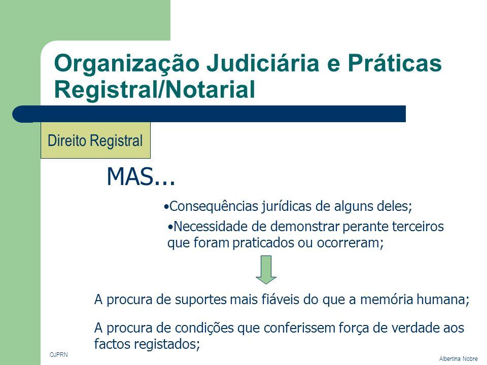 Organização Judiciária e Práticas Registral/Notarial OJPRN Albertina Nobre Direito Registral Noção de Registo Direito Registal Material Formal O normativo que define os aspectos organizativos e processuais ligados à actividade administrativa do registo.