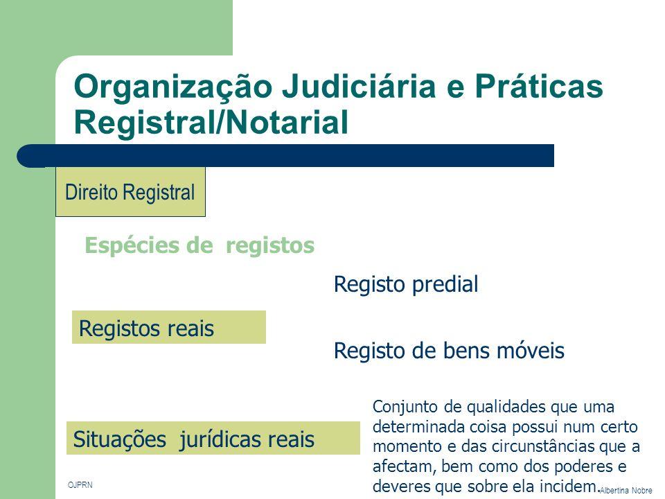 Organização Judiciária e Práticas Registral/Notarial OJPRN Albertina Nobre Direito Registral Espécies de registos Registos reais Registo predial Regis