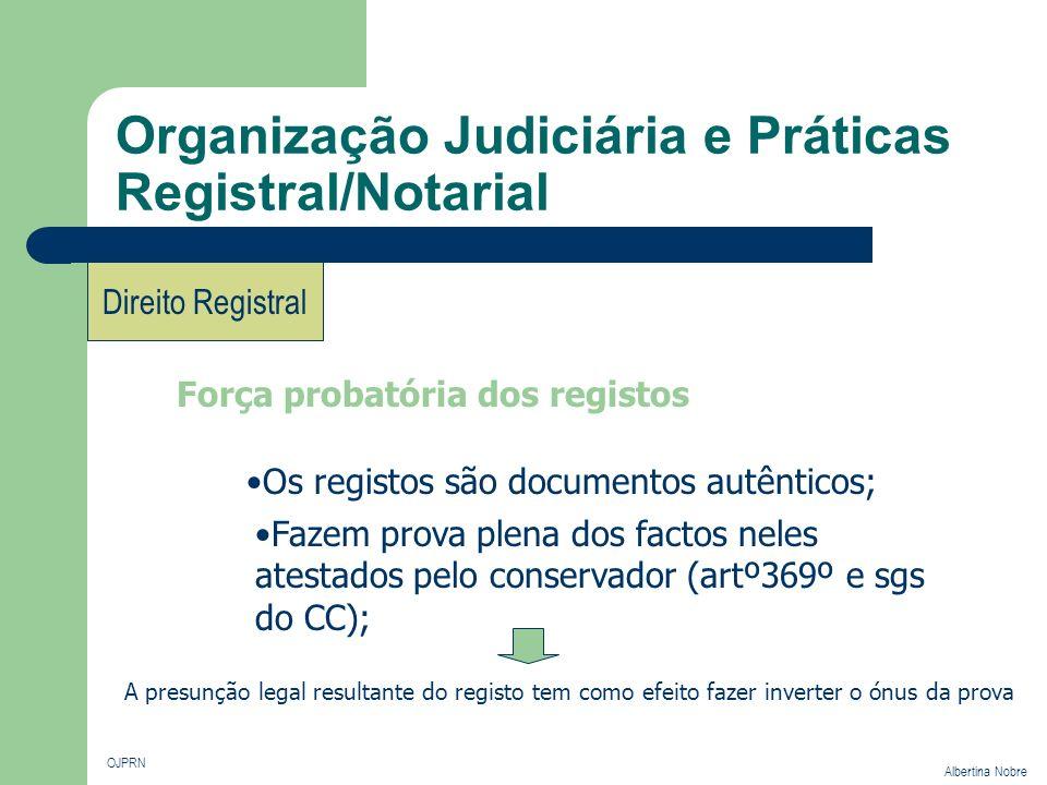 Organização Judiciária e Práticas Registral/Notarial OJPRN Albertina Nobre Direito Registral Força probatória dos registos Os registos são documentos