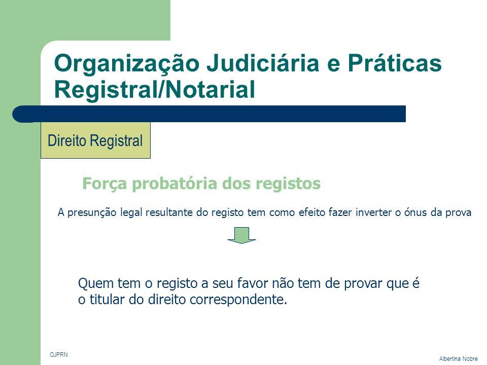 Organização Judiciária e Práticas Registral/Notarial OJPRN Albertina Nobre Direito Registral Força probatória dos registos A presunção legal resultant