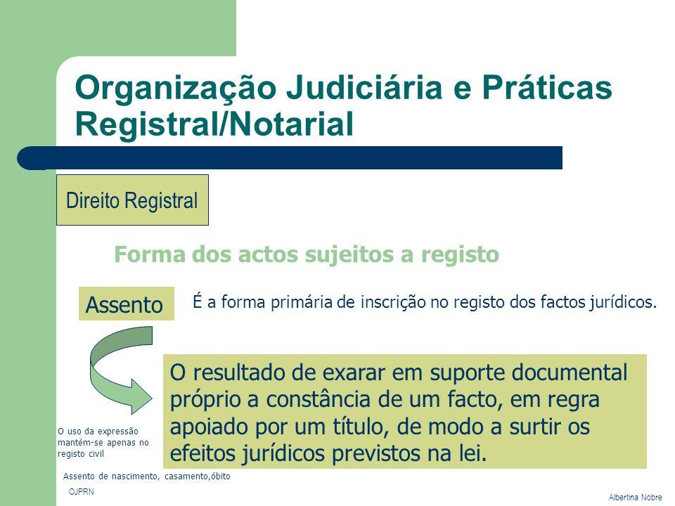 Organização Judiciária e Práticas Registral/Notarial OJPRN Albertina Nobre Direito Registral Forma dos actos sujeitos a registo Assento É a forma prim