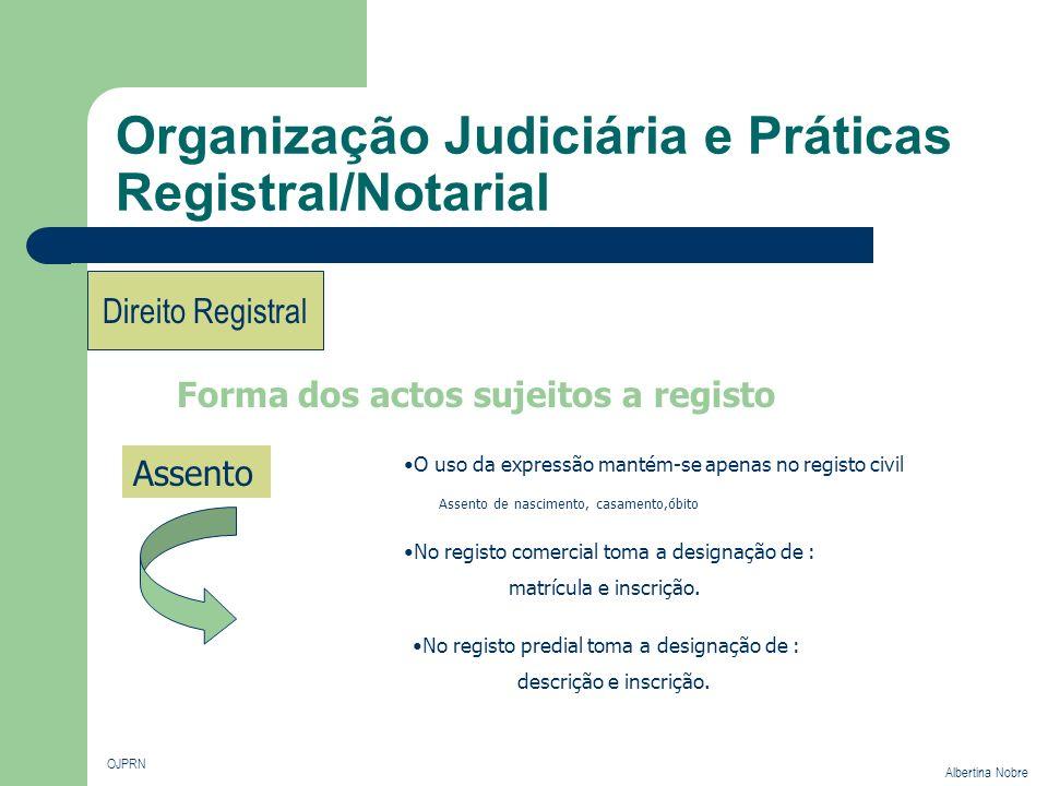 Organização Judiciária e Práticas Registral/Notarial OJPRN Albertina Nobre Direito Registral Forma dos actos sujeitos a registo Assento O uso da expre