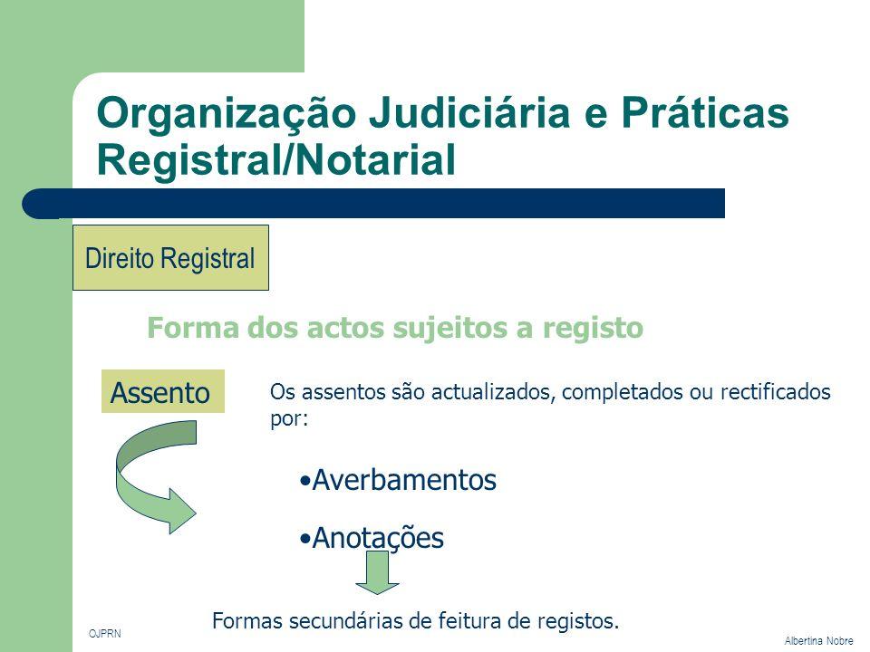 Organização Judiciária e Práticas Registral/Notarial OJPRN Albertina Nobre Direito Registral Forma dos actos sujeitos a registo Assento Os assentos sã