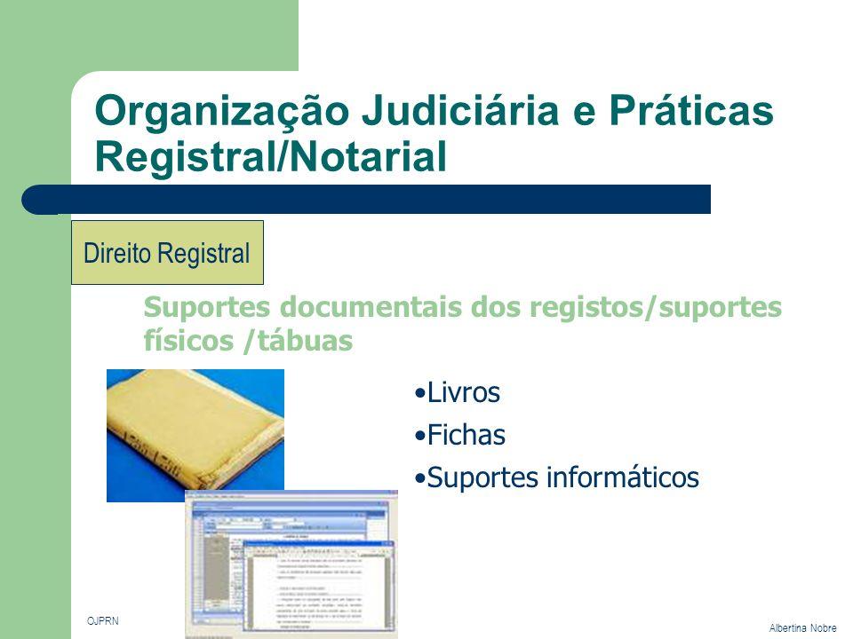 Organização Judiciária e Práticas Registral/Notarial OJPRN Albertina Nobre Direito Registral Suportes documentais dos registos/suportes físicos /tábua
