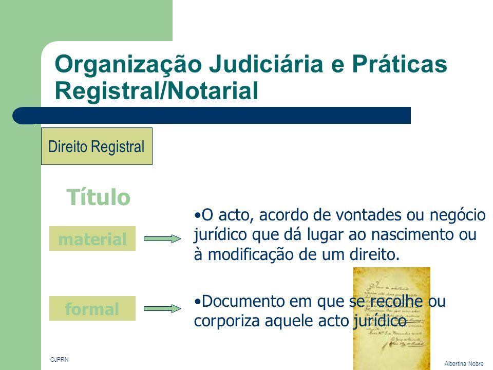 Organização Judiciária e Práticas Registral/Notarial OJPRN Albertina Nobre Direito Registral Título O acto, acordo de vontades ou negócio jurídico que
