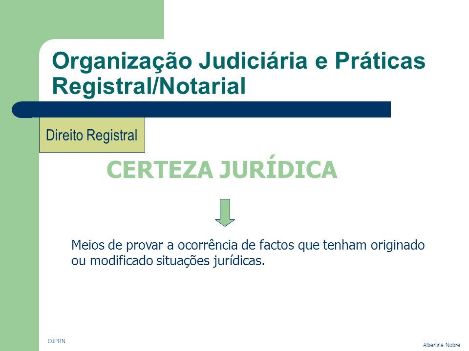 Organização Judiciária e Práticas Registral/Notarial OJPRN Albertina Nobre Direito Registral Portugal Oficiais públicos que ao intervirem nos instrumentos de direito privado davam a esses actos a natureza de escritos autênticos.