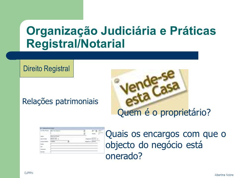 Organização Judiciária e Práticas Registral/Notarial OJPRN Albertina Nobre Direito Registral Relações patrimoniais Quem é o proprietário? Quais os enc
