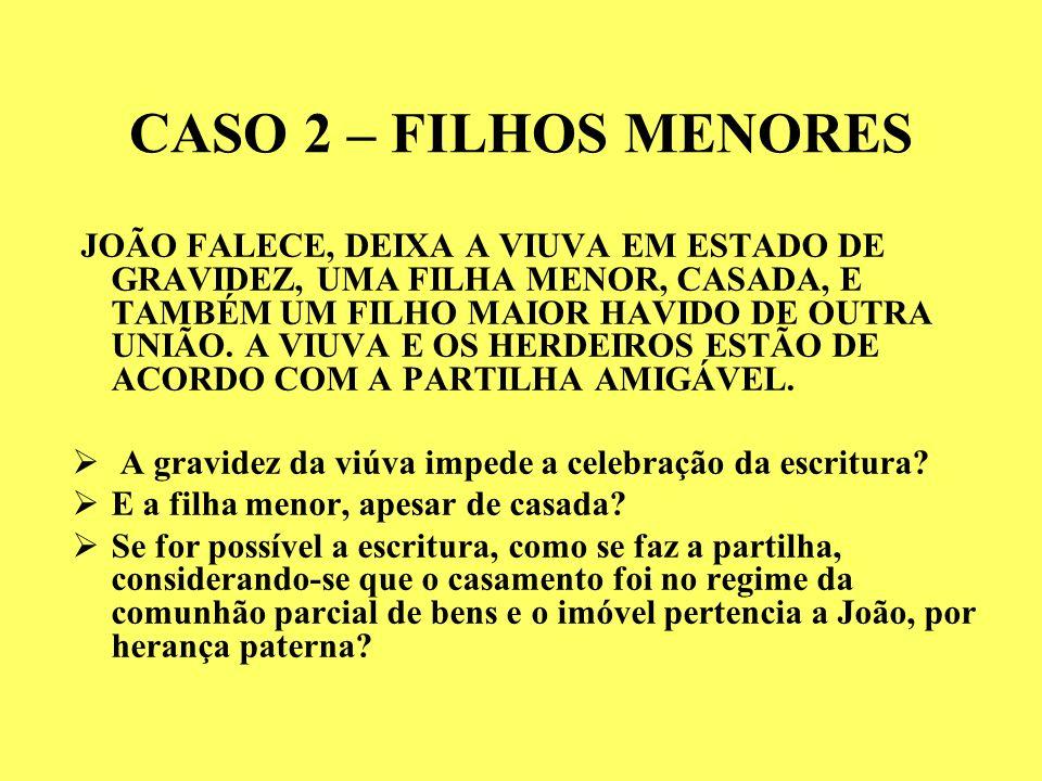 CASO 2 – FILHOS MENORES JOÃO FALECE, DEIXA A VIUVA EM ESTADO DE GRAVIDEZ, UMA FILHA MENOR, CASADA, E TAMBÉM UM FILHO MAIOR HAVIDO DE OUTRA UNIÃO.