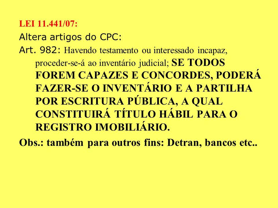 INVENTÁRIO E PARTILHA EXTRAJUDICIAL (ADMINISTRATIVO, EM CARTÓRIO) ESCRITURA PÚBLICA LEI N. 11.441, DE 040107