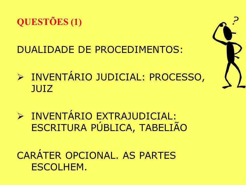 REQUISITOS DO INVENTÁRIO EXTRAJUDICIAL: a) partes todas maiores e capazes, b) acordo de partilha, c) advogado para assistência às partes.
