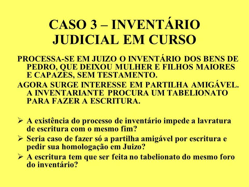 CASO 3 – INVENTÁRIO JUDICIAL EM CURSO PROCESSA-SE EM JUIZO O INVENTÁRIO DOS BENS DE PEDRO, QUE DEIXOU MULHER E FILHOS MAIORES E CAPAZES, SEM TESTAMENTO.