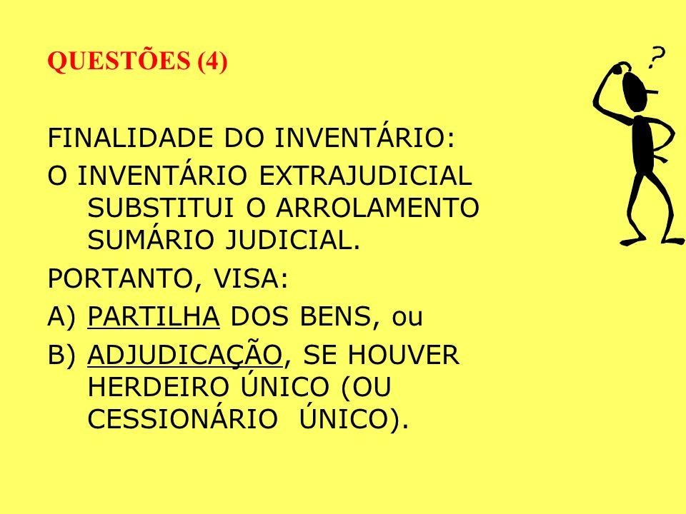 QUESTÕES (3) A ESCRITURA DE INVENTÁRIO É ATO PRIVATIVO DO TABELIÃO.
