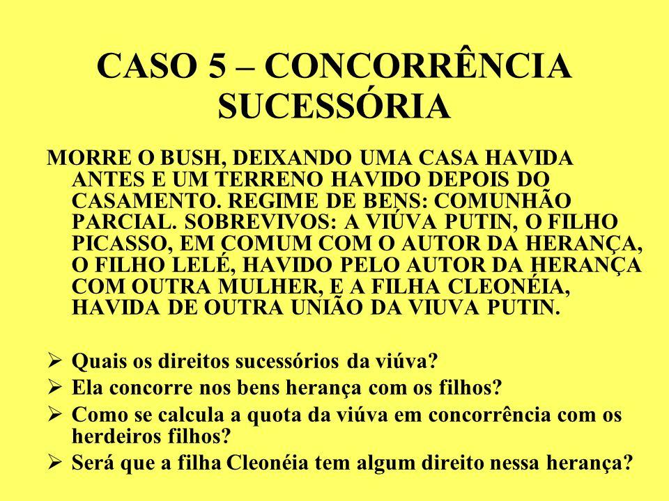 CASO 5 – CONCORRÊNCIA SUCESSÓRIA MORRE O BUSH, DEIXANDO UMA CASA HAVIDA ANTES E UM TERRENO HAVIDO DEPOIS DO CASAMENTO.
