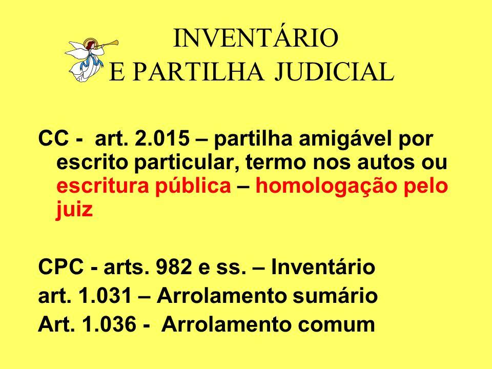 INVENTÁRIO E PARTILHA JUDICIAL CC - art.