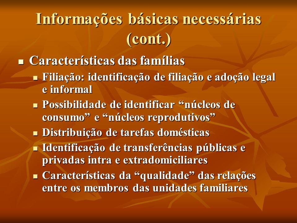 Informações básicas necessárias (cont.) Características das famílias Características das famílias Filiação: identificação de filiação e adoção legal e