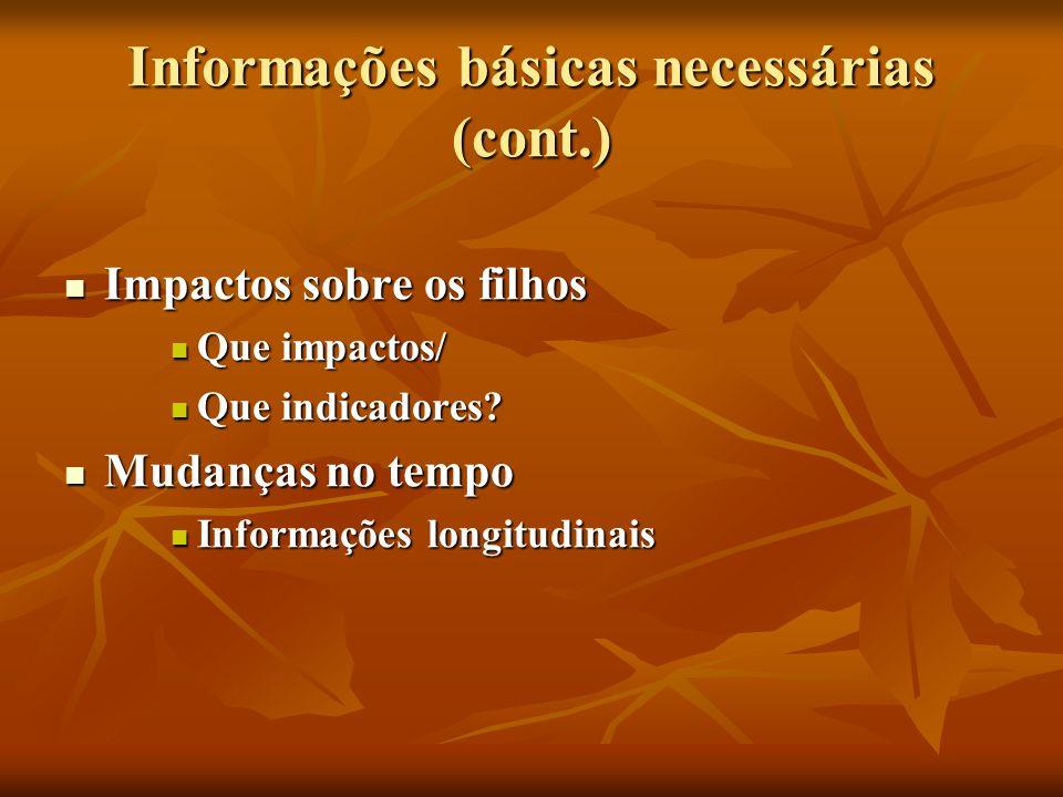 Informações básicas necessárias (cont.) Impactos sobre os filhos Impactos sobre os filhos Que impactos/ Que impactos/ Que indicadores? Que indicadores