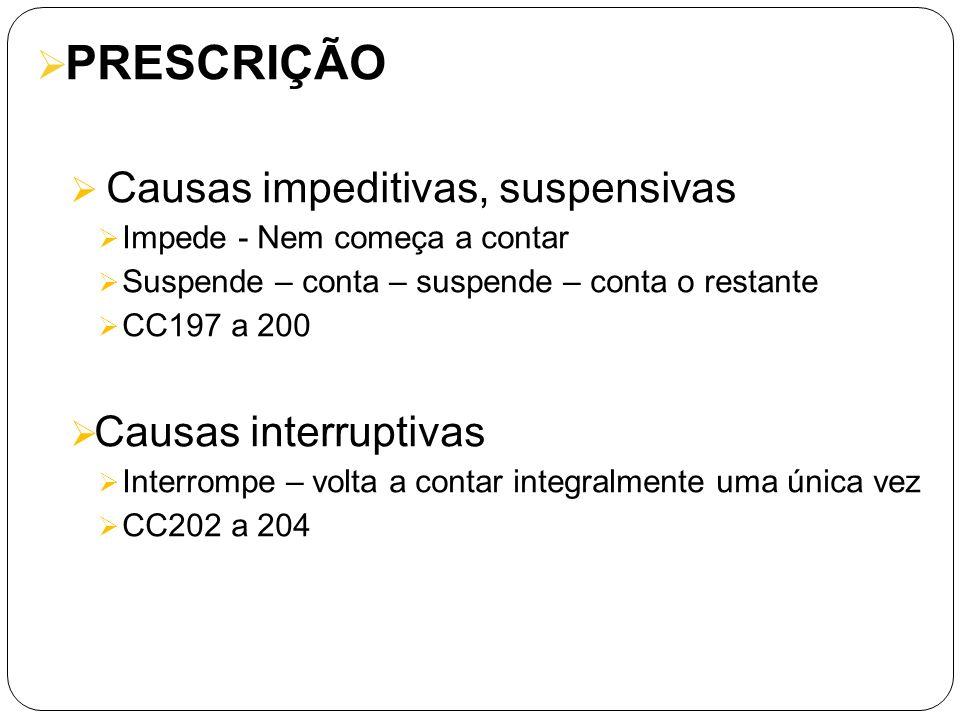 PRESCRIÇÃO Causas impeditivas, suspensivas Impede - Nem começa a contar Suspende – conta – suspende – conta o restante CC197 a 200 Causas interruptiva