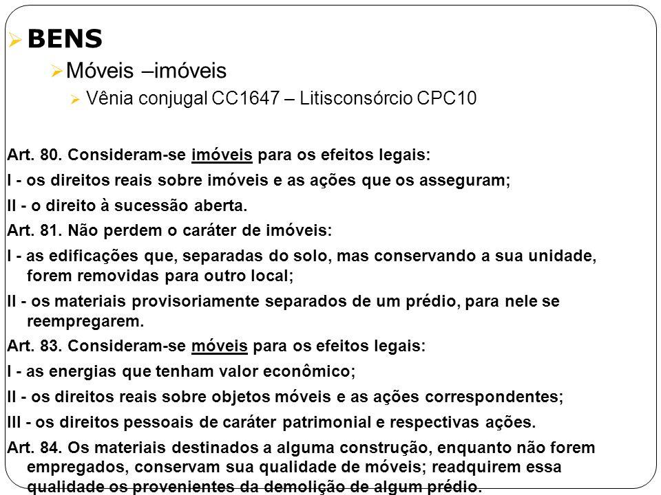 BENS Móveis –imóveis Vênia conjugal CC1647 – Litisconsórcio CPC10 Art. 80. Consideram-se imóveis para os efeitos legais: I - os direitos reais sobre i
