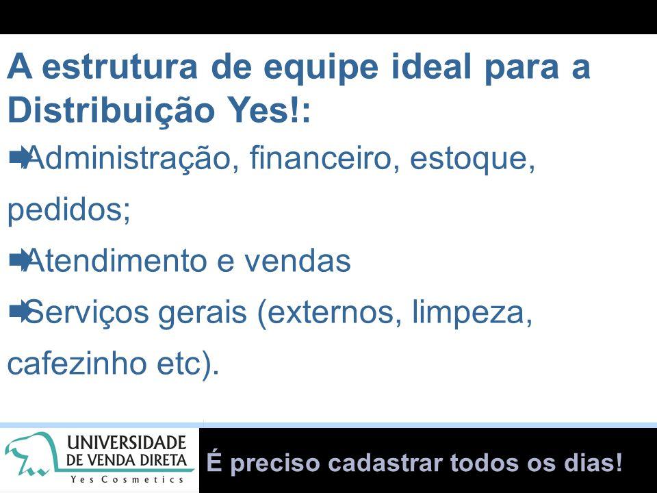 É preciso cadastrar todos os dias! A estrutura de equipe ideal para a Distribuição Yes!: Administração, financeiro, estoque, pedidos; Atendimento e ve