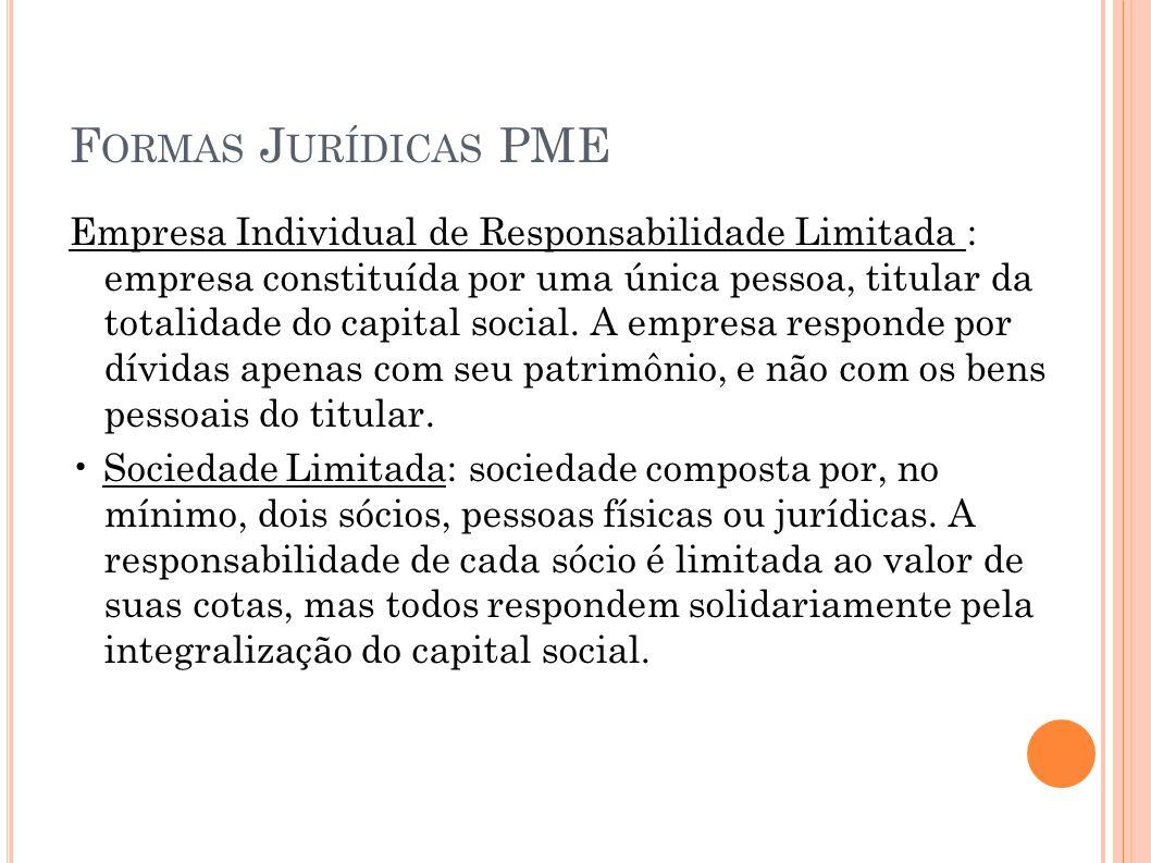 F ORMAS J URÍDICAS PME Empresa Individual de Responsabilidade Limitada : empresa constituída por uma única pessoa, titular da totalidade do capital so
