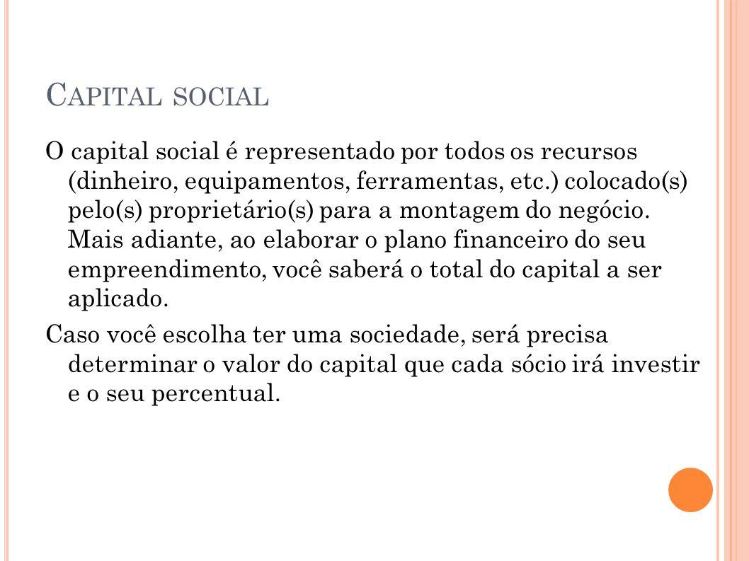 C APITAL SOCIAL O capital social é representado por todos os recursos (dinheiro, equipamentos, ferramentas, etc.) colocado(s) pelo(s) proprietário(s)