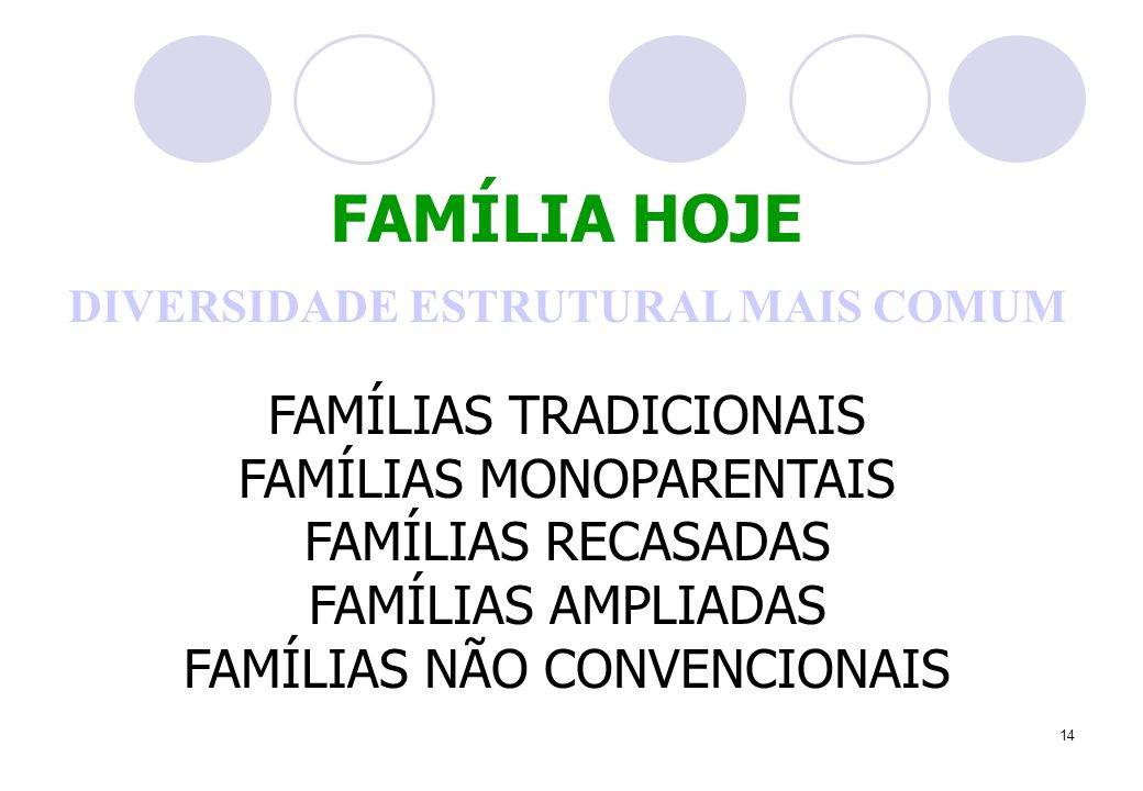 14 DIVERSIDADE ESTRUTURAL MAIS COMUM FAMÍLIAS TRADICIONAIS FAMÍLIAS MONOPARENTAIS FAMÍLIAS RECASADAS FAMÍLIAS AMPLIADAS FAMÍLIAS NÃO CONVENCIONAIS FAMÍLIA HOJE