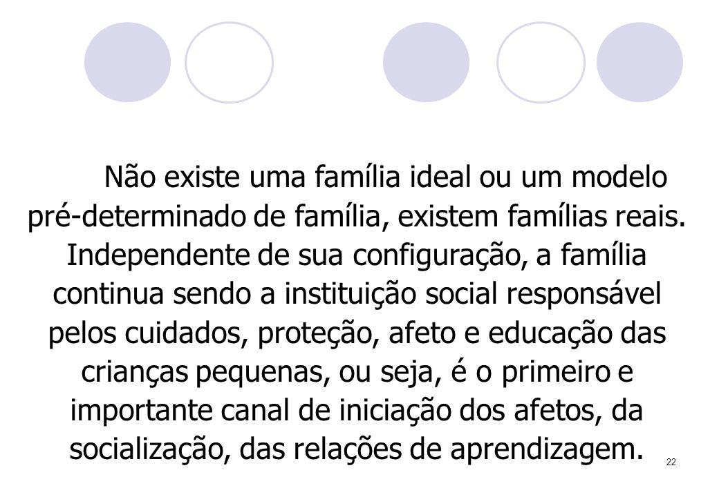 22 Não existe uma família ideal ou um modelo pré-determinado de família, existem famílias reais. Independente de sua configuração, a família continua