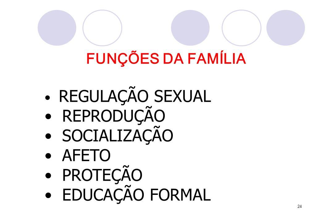 24 REGULAÇÃO SEXUAL REPRODUÇÃO SOCIALIZAÇÃO AFETO PROTEÇÃO EDUCAÇÃO FORMAL FUNÇÕES DA FAMÍLIA