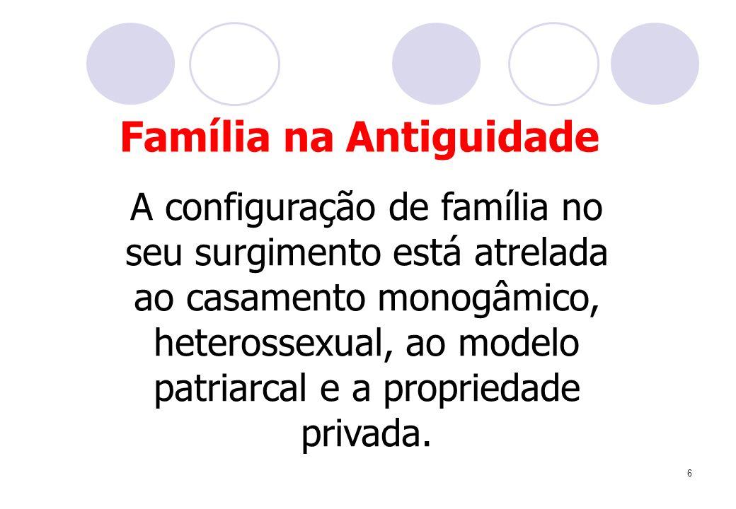 6 A configuração de família no seu surgimento está atrelada ao casamento monogâmico, heterossexual, ao modelo patriarcal e a propriedade privada. Famí