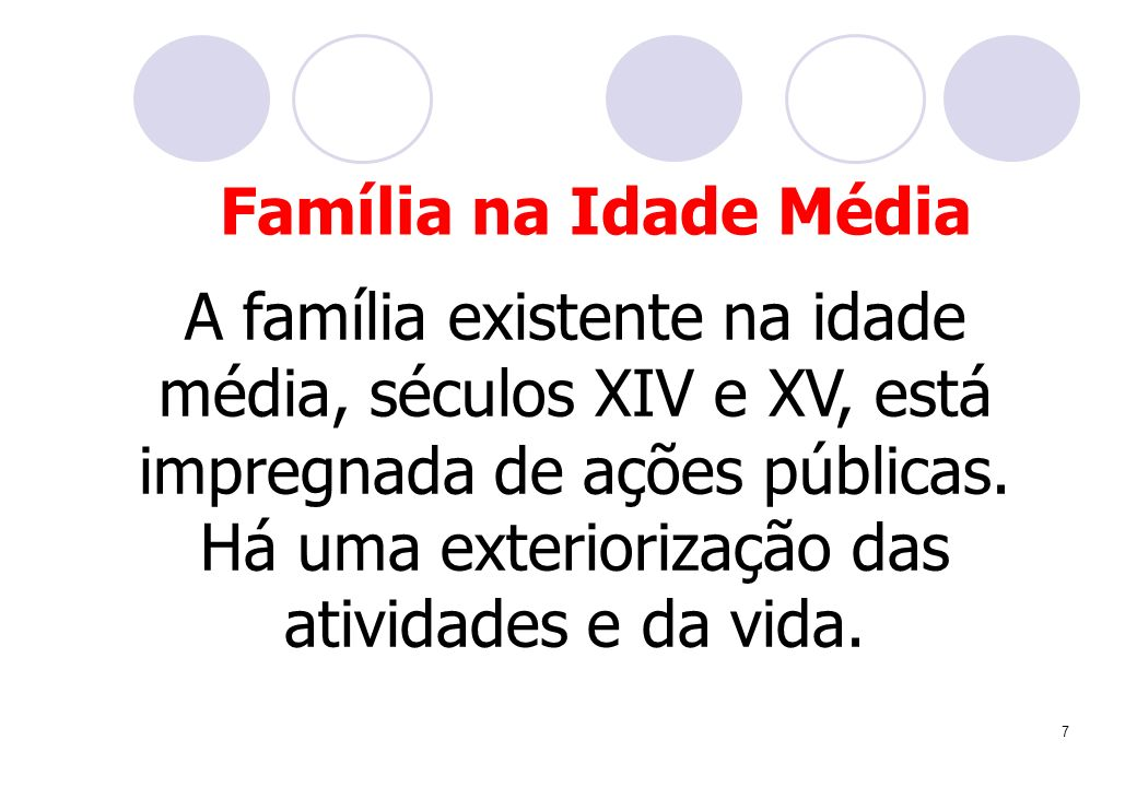 7 A família existente na idade média, séculos XIV e XV, está impregnada de ações públicas. Há uma exteriorização das atividades e da vida. Família na