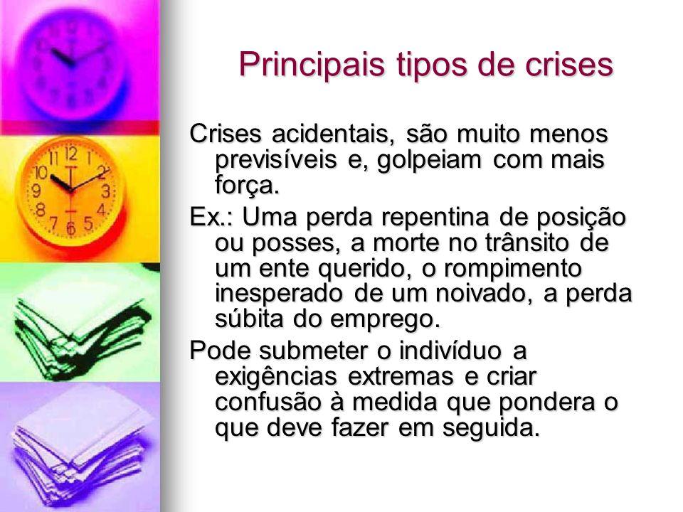 Principais tipos de crises Principais tipos de crises Crises acidentais, são muito menos previsíveis e, golpeiam com mais força. Ex.: Uma perda repent