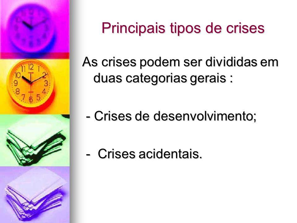 Principais tipos de crises As crises podem ser divididas em duas categorias gerais : - Crises de desenvolvimento; - Crises de desenvolvimento; - Crise