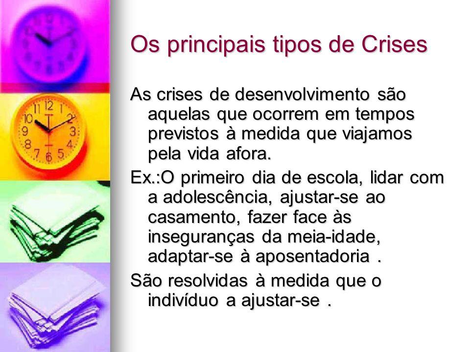 Os principais tipos de Crises As crises de desenvolvimento são aquelas que ocorrem em tempos previstos à medida que viajamos pela vida afora. Ex.:O pr