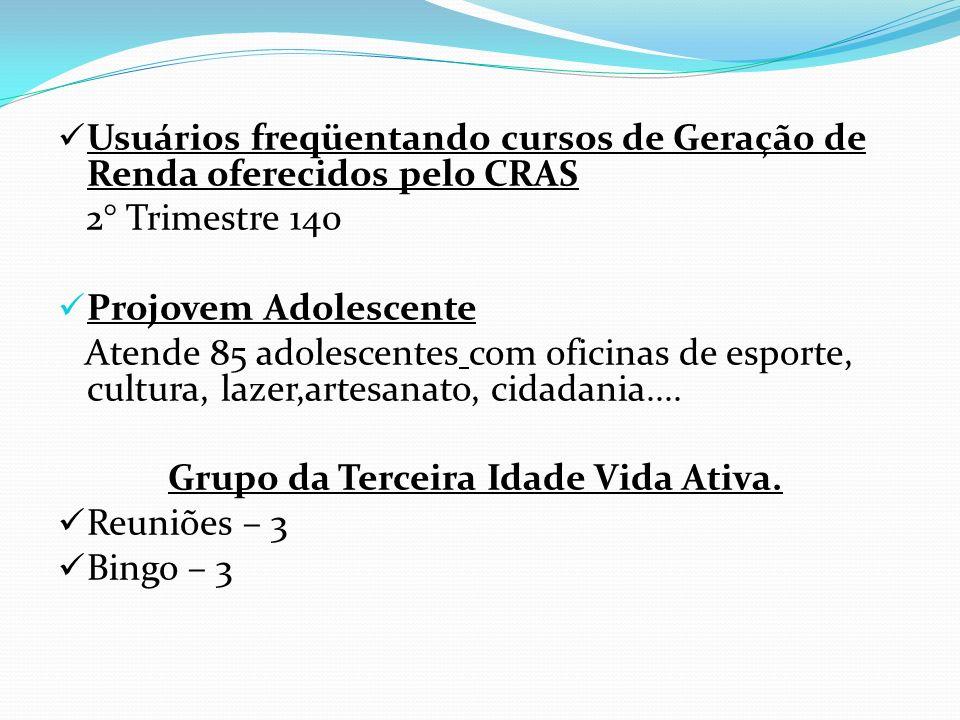Usuários freqüentando cursos de Geração de Renda oferecidos pelo CRAS 2° Trimestre 140 Projovem Adolescente Atende 85 adolescentes com oficinas de esp